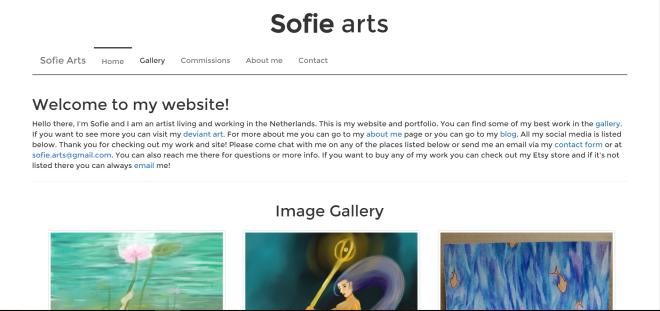 My sites homepage and setup