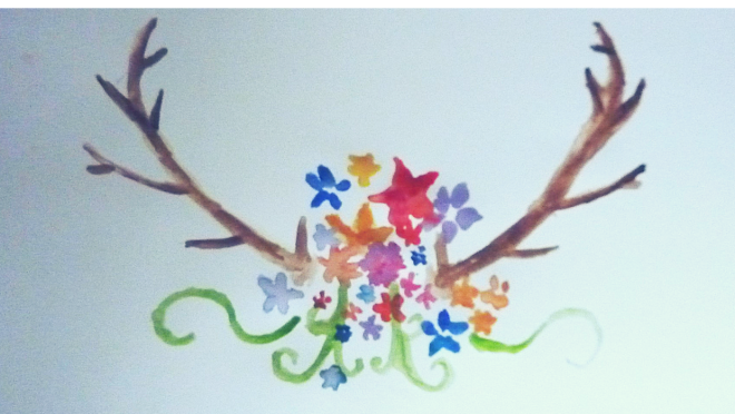 My work // antlers with flowers water colour // show your work