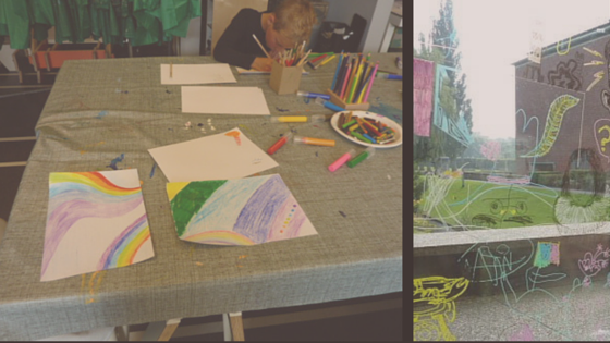 Drawing rainbows and making glass window drawings