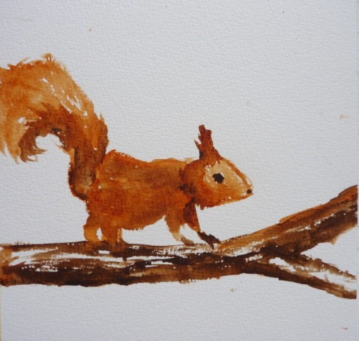 Tumblr painting of a squirrel watercolours, a example of my winter posts!
